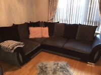 Dfs corner couch with swivel chair and footstools