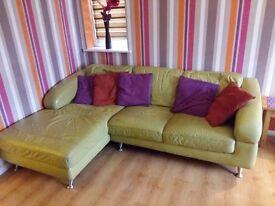 Corner green leather sofa, chair bundle. Dfs