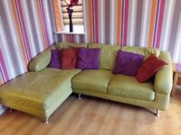 Corner green leather sofa, chair bundle. Dfs