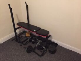 Adidas Fitness bench with weights and bar