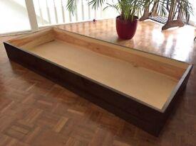 Underbed storage (Warren Evans) 3/4 length in nice, clean condition. Dark stain, contemporary look