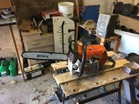 Stihl chainsaw stihl strimmer and Briggs &a Stratton lawnmower