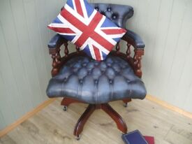Stunning Blue Leather Chesterfield Captains Chair.