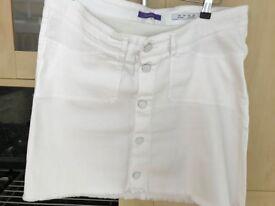 Seraphine Maternity White Denim Skirt Size 12