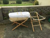 John Lewis Moses basket and 2 different height stands . Barely used and in excellent condition.