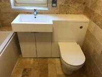 Elegant bathroom vanity unit high gloss white sink and toilet