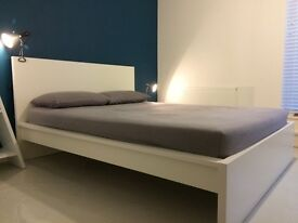 MALM King size Bed frame, high headboard, white