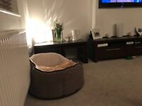 TV cabinet and matching nest of tables, dark mango effect, from next, excellent condition