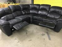 Black leather corner recliner sofa •free delivery•
