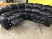 Black leather corner recliner sofa •free delivery•