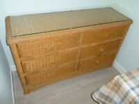 Quality Rattan Wicker Glass Covered 6 Drawer Chest Of Drawers VG Condition Collect North Edinburgh!!