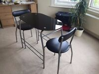 Black Dining Set - Table and Two Chairs