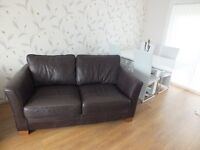 2 matching dark brown 100% quality leather sofas for sale.