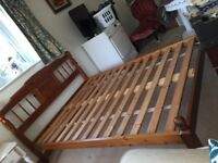 Double Bed for sale - Pine wood