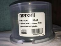 3 spindles of 50 Maxell white CD-R discs unused and sealed