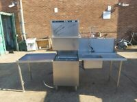 Hobart ecomax commercial passthrough dishwasher 3 phase with sink & side table for catering