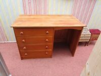 LARGE SOLID PINE 4 DRAWER DESK DOVETAILED DRAWERS. VERY SOLID PIECE,MAYBE A DRESSING TABLE.