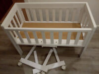 Adjustable height Crib - wheeled, dropside, with mattress