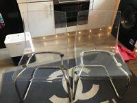 IKEA clear acrylic chairs x2