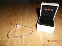 pandora silver charm bracelet & box