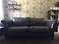 2x double brown leather sofa