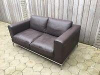2 seater dark brown leather retro sofa