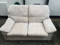 Two seater settee and matching chair Cream beige patterned fabric from Dansk