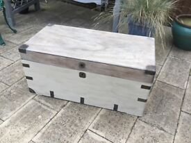 Large wooden trunk/ chest painted
