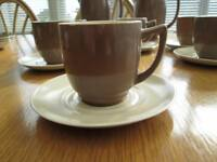 Collectible Vintage Art Deco style Branksome china coffee service Pixie Brown & Sahara twintone