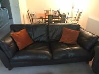 Brown leather M&S settee