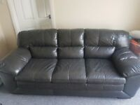 DFS BRAND NEW 3 SEATER LEATHER SOFA IN SLATE GREY / BLACK