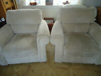 Armchairs in a pale beige [ ivory ] embossed fabric-as new