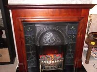 ELECTRIC FIRE WITH SURROUND, HEARTH BLACK TILES AND TILED INSET, FREE STANDING JUST PLUG IN