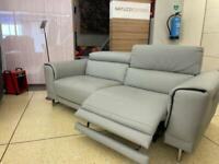 Natuzzi Private Label Raphael 3 seater Grey leather power recliner sofa