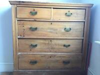 Antique oak chest of drawers with brass handles
