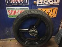 Suzuki front wheel and tyre.
