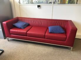 Comfortable maroon leather style sofa - Collection Only - Twickenham