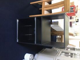 Hi Fi Cabinet Black Finish with glass doors