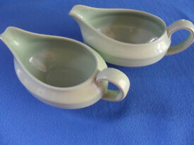 2 Gravy boats / sauce jugs. Beryl Wood's Ware. classic green, very collectable - Pokesdown BH5 2AB