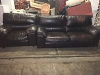 CHUNKY REAL LEATHER SOFA SET FREE LOCAL DELIVERY
