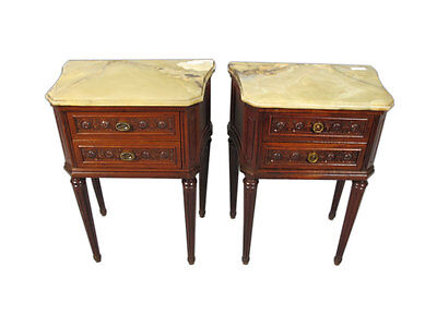 Antique French Pair of Louis XVI Style Marble Top Nightstands - 11341