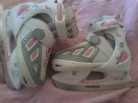 Kids pink girls SFR Ice Skates - Adjustable boot size 13j-3