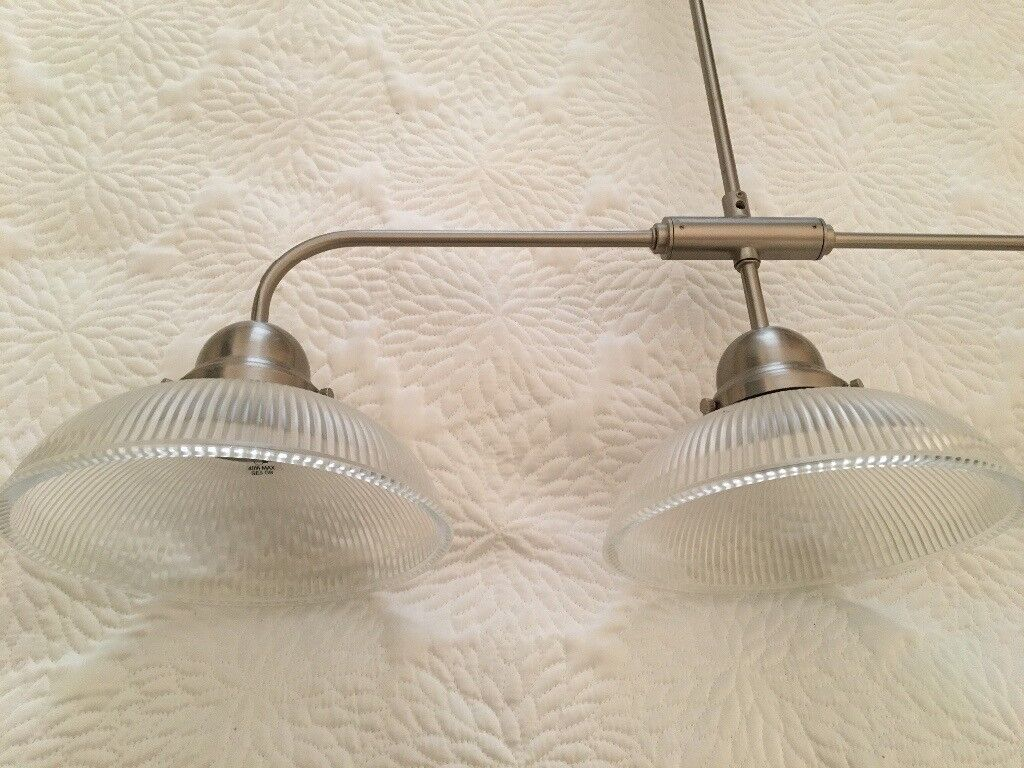 Kitchen or dining room three light pendant - ribbed glass and metal