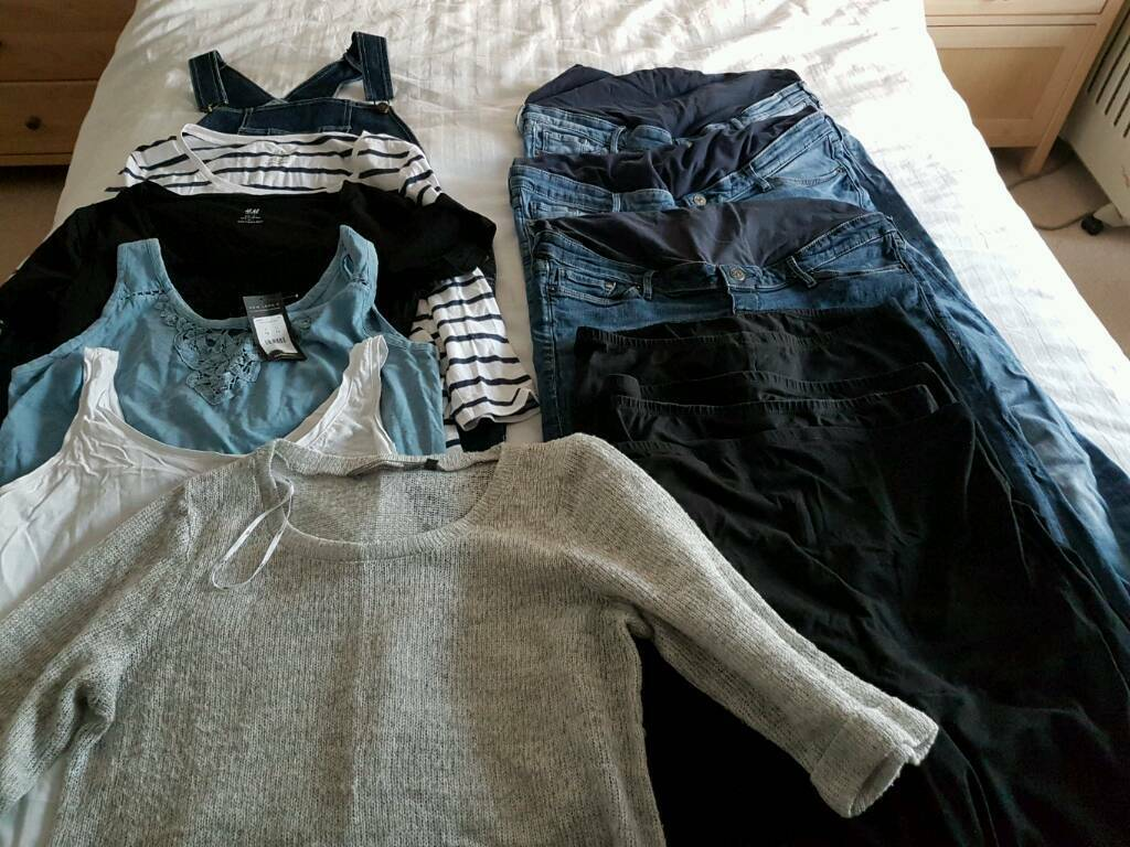 Maternity clothes bundle size 16L13 itemsin Tilehurst, BerkshireGumtree - 13 item maternity clothes bundle 4 x black over bump leggings size L, h&m, good used condition3 x over bump jeans size 16, h&m, 2x lighter shade and 1x darker, good used condition1 x blue top size 16, new look, bnwt1 x black short sleeved top size L,...