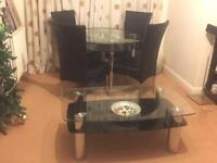 Glass dinning table and chairs, centre table HOUSE CLEARANCE!!!