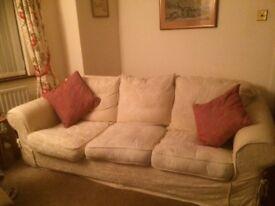 Sofa - cream, loose cover. Large minimum 3 seater.