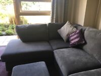 Grey corner sofa and armchair. Less than. 12 months old. Immaculate condition