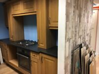 Solid Oak Kitchen with 2 single ovens, hob and extractor