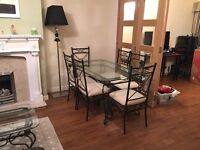 Glass Topped Dining Table, 6 Chairs, Coffee Table & Display Unit all matching decorative metal frame