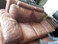 2 and 3 seater brown leather sofas FREE